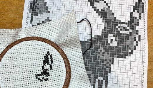 風邪篭もり猫が巻きつく刺繍糸/ブラッキーのクロスステッチ作ってる/コロナショックによせてその6